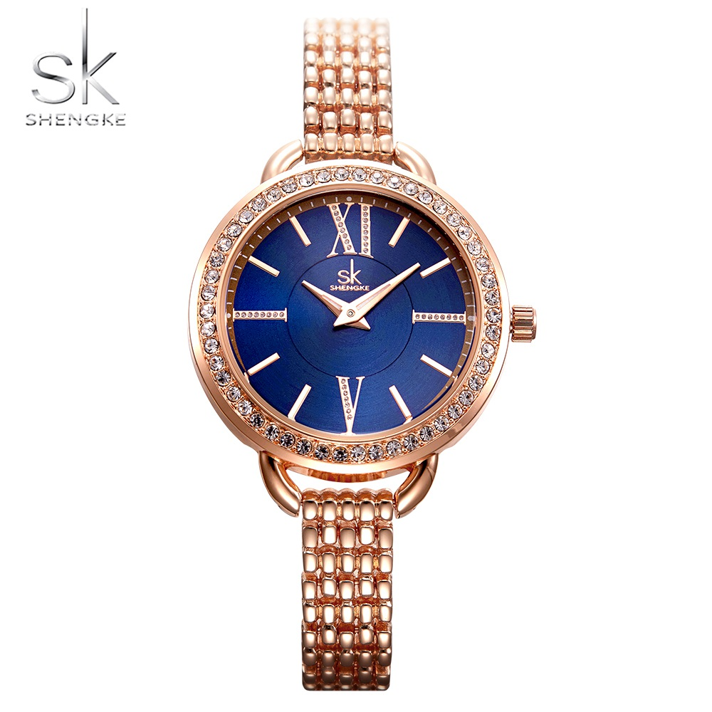 Fashion Watch Stylish Blue Luxury Women Crystal Dial Watch Ladies Watch Quartz Japan Mov Rose gold Case Reloj Mujer Bracelet luxury pear shell dial ladies watches fashion green quartz women watch rose gold milan mesh belt waterproof watch reloj mujer