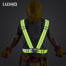 Adjustable size Reflective jacket Safety vest reflective vest motorcycle for Night Work Security Running Cycling neon jacket(China)