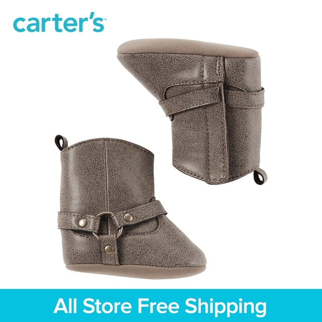 e1719f6f4 Carter's 1 pair baby children kids Riding Boot Crib Shoes solid Soft soles  Velcro fall winter girl clothing GB13784