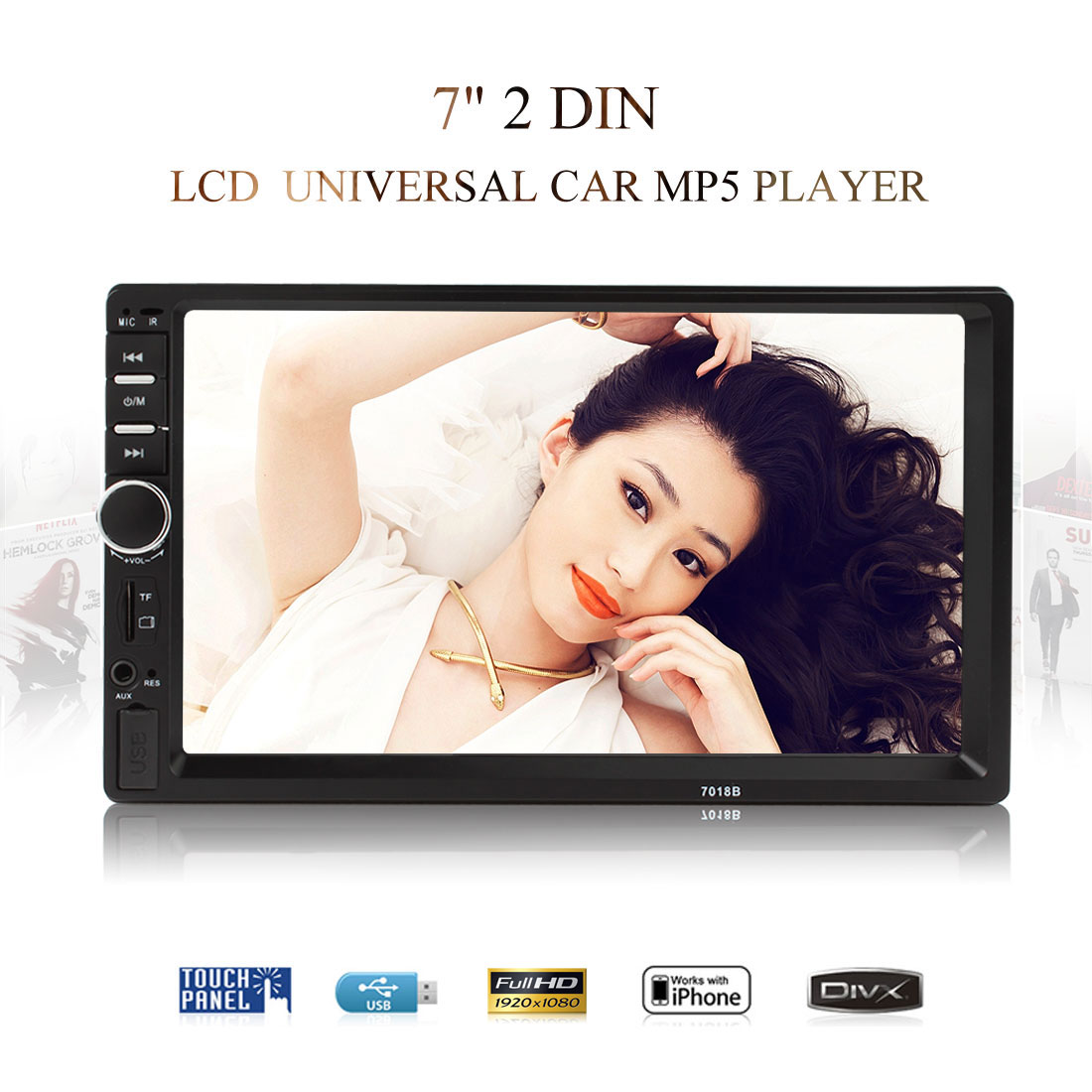 7018B 7 Inch LCD HD Double DIN Car In-Dash Touch Screen Bluetooth Car Stereo FM MP3 MP5 Radio Player touch screen bluetooth car stereo fm mp3 mp5 radio player of 7 inch lcd hd double din in dash rear view camera