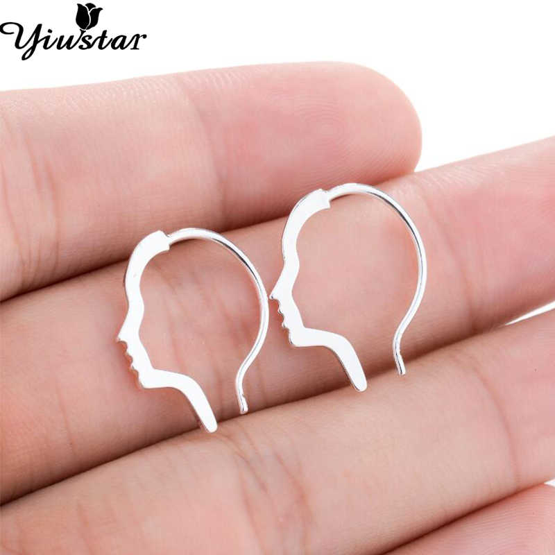 Yiustar New Earrings 2018 Fashion Mini Face Outline Hoop Earrings for Women Femme Girls Trendy Jewelry Creative Girlfriend Gift