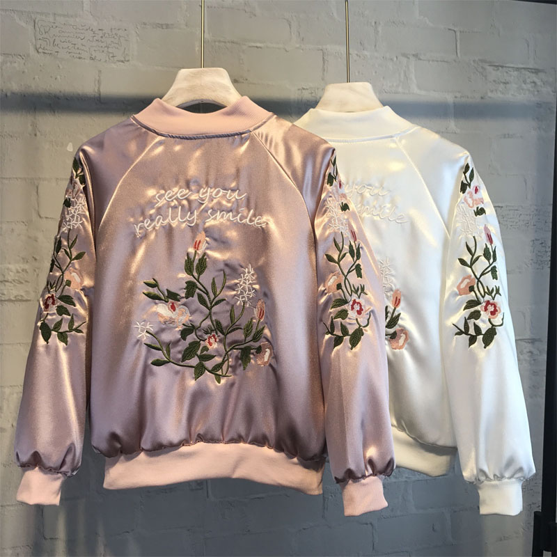 Casual Women Bomber Jacket Ruffles Loose Zippers Female Coat Streetwear Floral Embroidery Ladies Jacket