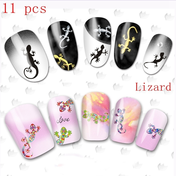 11 Pcs Nail Wraps Art Water Transfers Decals Lizard Gecko Turtle Tattoo Stickers Ble 2303