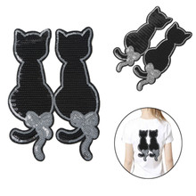 5PCS Cute Cat Sequins Sew On Patch for Clothes DIY Applique Bag Clothing Coat Sweater Crafts