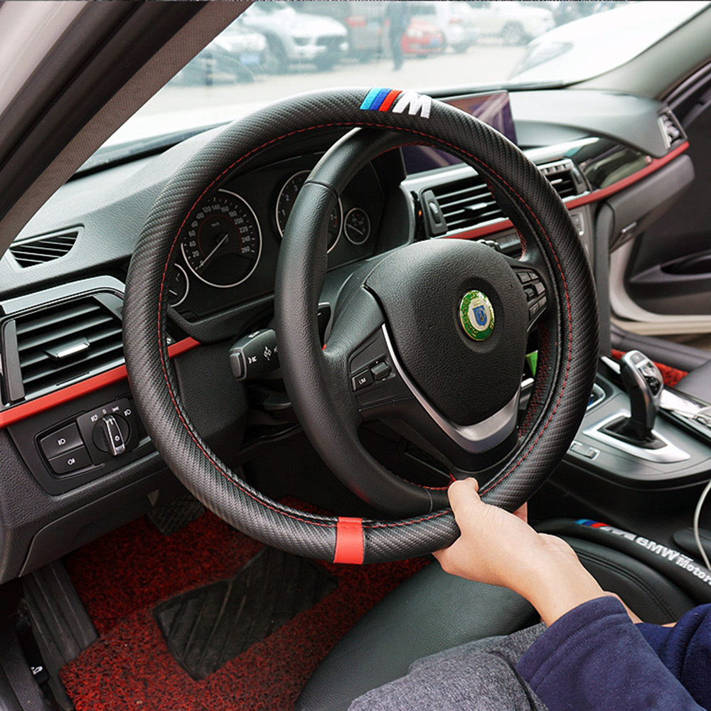 Aliexpress com buy car styling m carbon fiber leather pu steering wheel cover for bmw x1 x2 x3 x4 x5 x6 m1 m2 m3 m4 m5 m6 m7 series from reliable