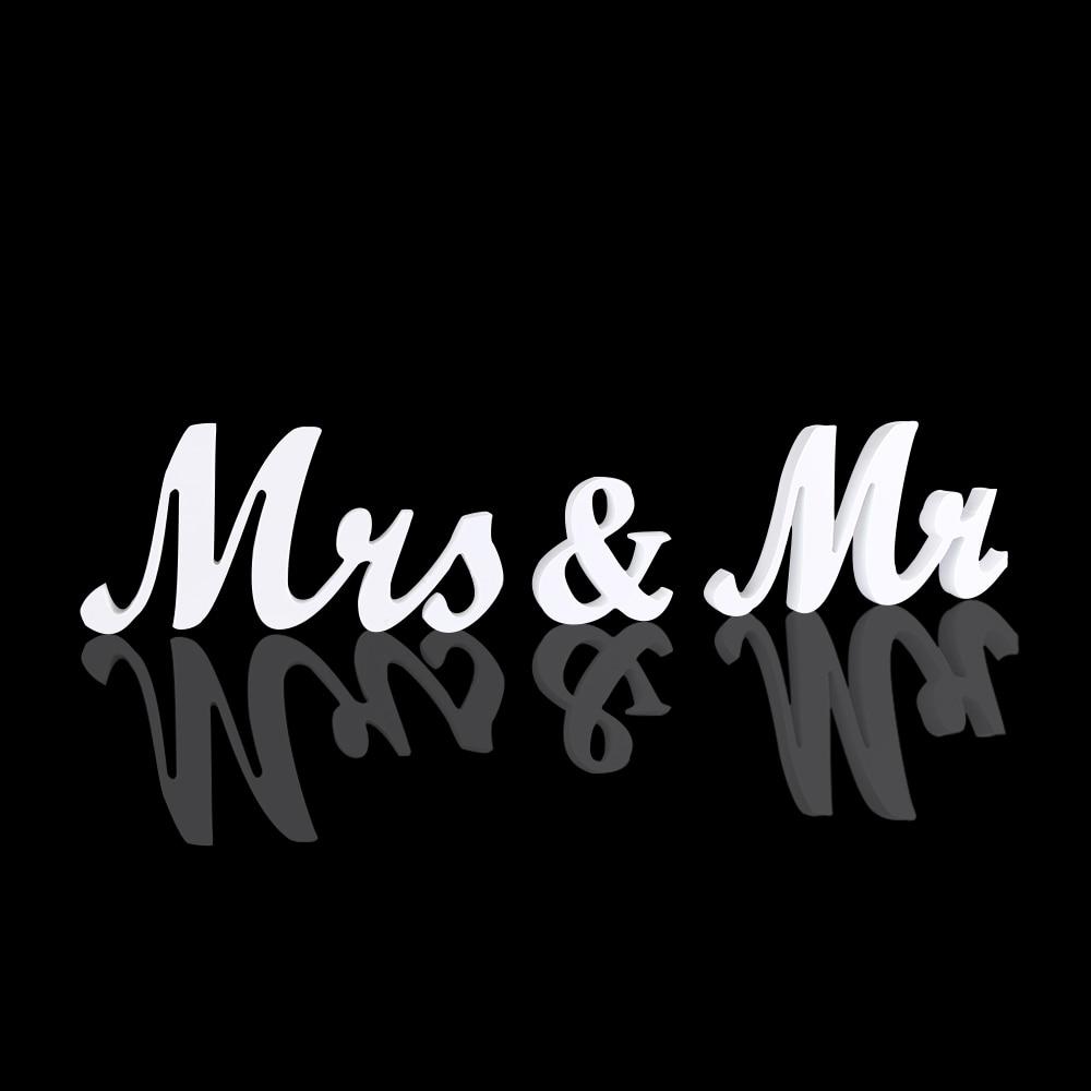 1 Set Mr & Mrs Wedding Receptie Teken Effen Houten Letters Tafel Top Middelpunt Party Decor Lover Gift Fotografie Props Consumenten Eerst