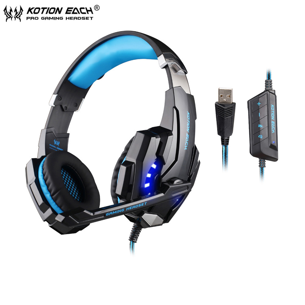 KOTION EACH G9000 USB 7.1 Surround Sound Vibration Game Gaming Headphone Computer Headset Earphone Headband with Mic LED for PC kotion each g9000 7 1 surround sound gaming headphone game stereo headset with mic led light headband for ps4 pc tablet phone