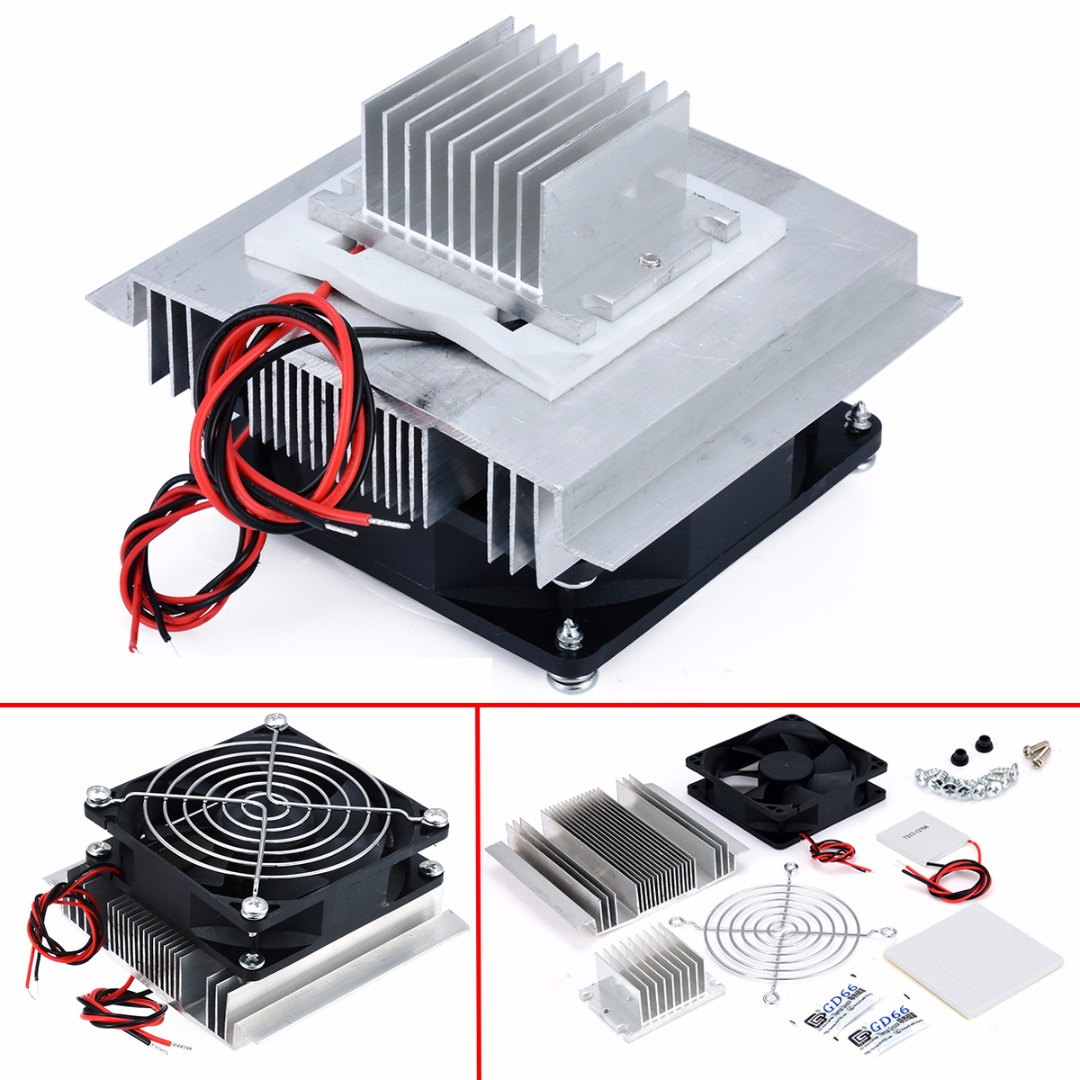 1pc Thermoelectric Peltier Refrigeration Cooler DC 12V Semiconductor Air Conditioner Cooling System DIY Kit thermoelectric peltier 60w cooler refrigeration semiconductor cooling system kit cooler fan finished set for computer cpu hot
