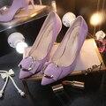 2017 женская обувь весна новой Корейской версии кашемир поверхности C кнопка с мелкой рот указал толщиной с одного пятки