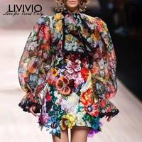 [LIVIVIO] Vintage Floral print Chiffon Shirts Blouse Women Stand Collar Long Puff Sleeve Tops Female Elegant Fashion Clothes