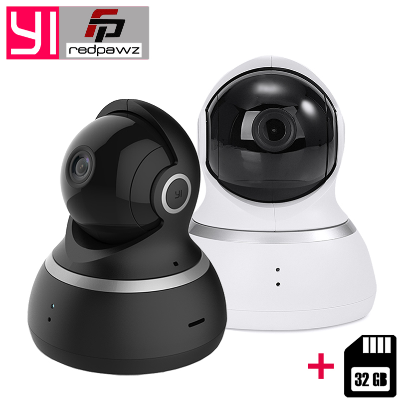 [International] YI Dome Camera 1080P 112 Degree Wide Angle 360 Degree View Night Vision 2 Way Audio IP Webcam+32 GB Card