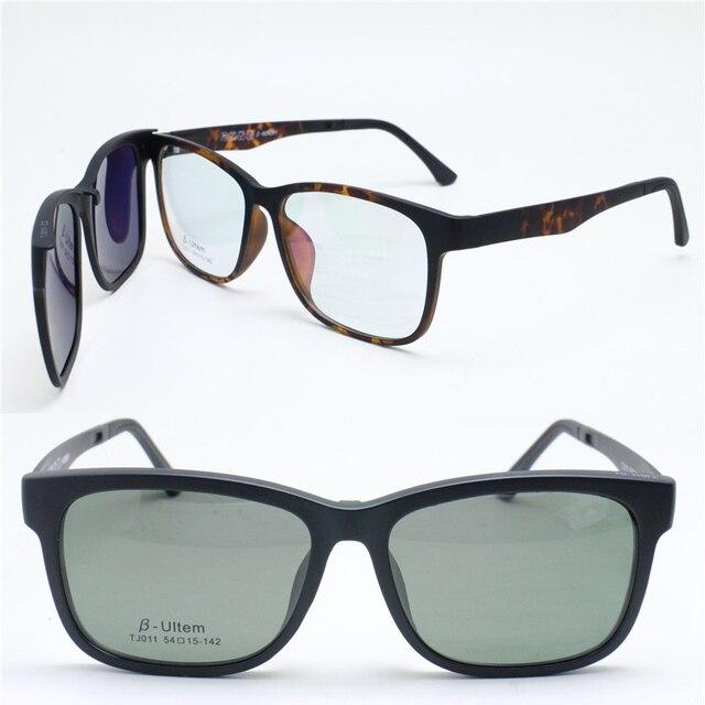 e1c2d8e677a 011 ULTEM square shape optical myopia Hyperopia eyeglasses frame with  megnatic clip on removable polarized sunglasses