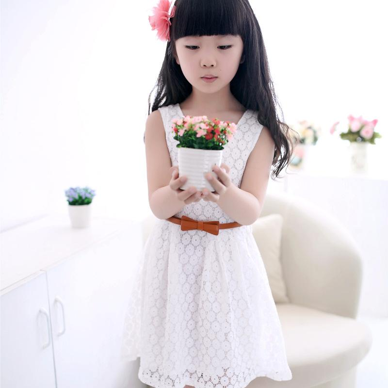 Kids Dresses for Girls Summer Sleeveless Lace Solid Princess Dress 2017 New 2-8 Years Kids Clothes Red Purple White Pink Colors distrressed girls dress summer 2016 new arrival pink ripped denim dress for kids sleeveless solid casual girls overalls dress