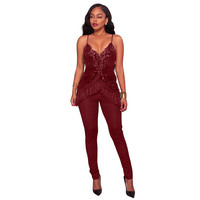 NEW Women Sequins Jumpsuits Long Off Shoulder Spaghetti Strap Tassel Rompers Female Elegant Party Overalls Sexy