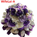 Ramo Novia Bouquet Purple Ivory Mixed Color Ribbon Bridal Bouquet Decorative Silk Rose Flower Crystal Wedding Bouquets W271