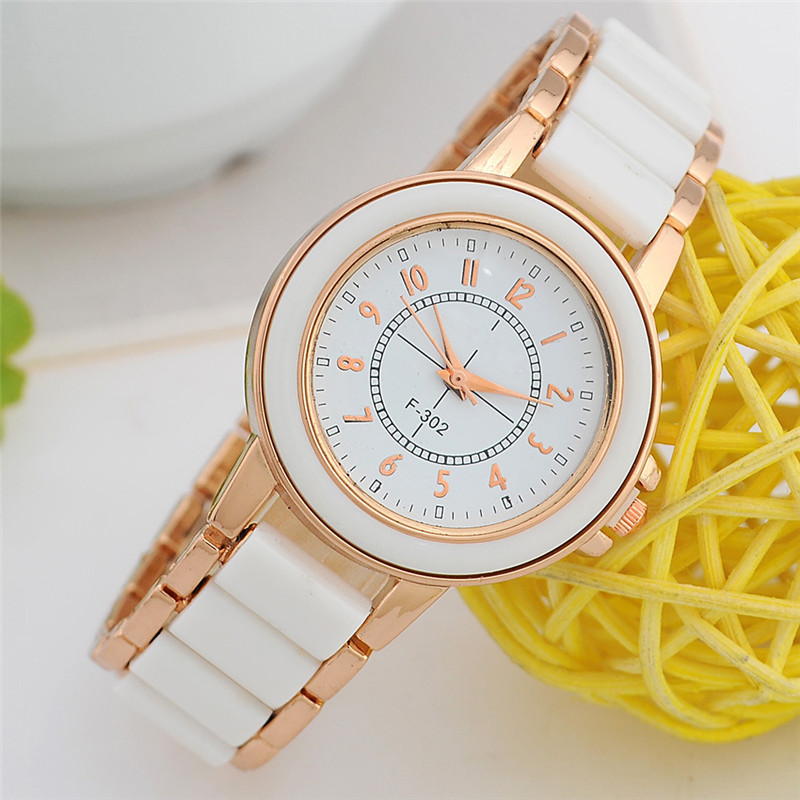 Luxury Fashion Women Clock Quartz Watch Hot Sale Ladies Bracelet Watches Geneva Rose Gold  Imitate Ceramic Watches 2016 luxury brand ladies quartz fashion new geneva watches women dress wristwatches rose gold bracelet watch free shipping