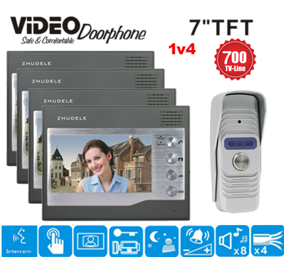 ZHUDELE International design 7 TFT Monitor Intercom Video Door Phone Doorbell System 700TVL Camera Night Vision in stock 1v4