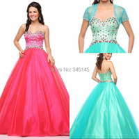 Quinceanera Dresses Organza Sweetheart Ball Gown Crystal Beading Blue Quinceanera Dress with Jacket/Wrap New Arrival Prom