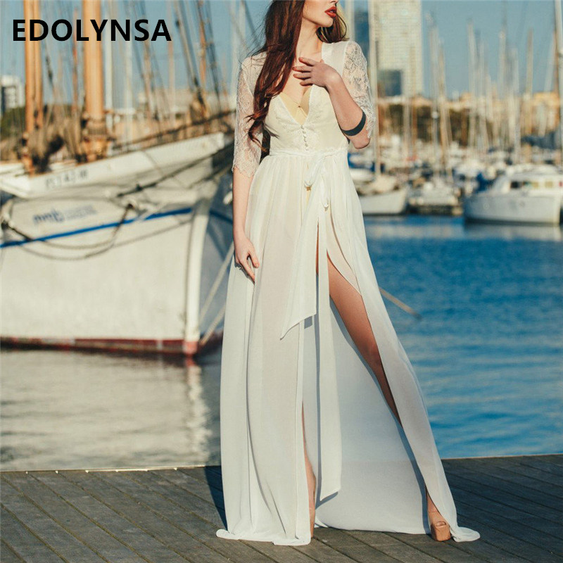77d627f444 Elegant Lace Patchwork Tunic Women Beach Dress Sexy Plunging Neck Sashes  Self Belted Split White Chiffon