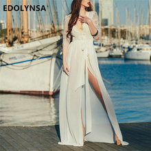 748313d3ae Elegant Lace Patchwork Tunic Women Beach Dress Sexy Plunging Neck Sashes  Self Belted Split White Chiffon