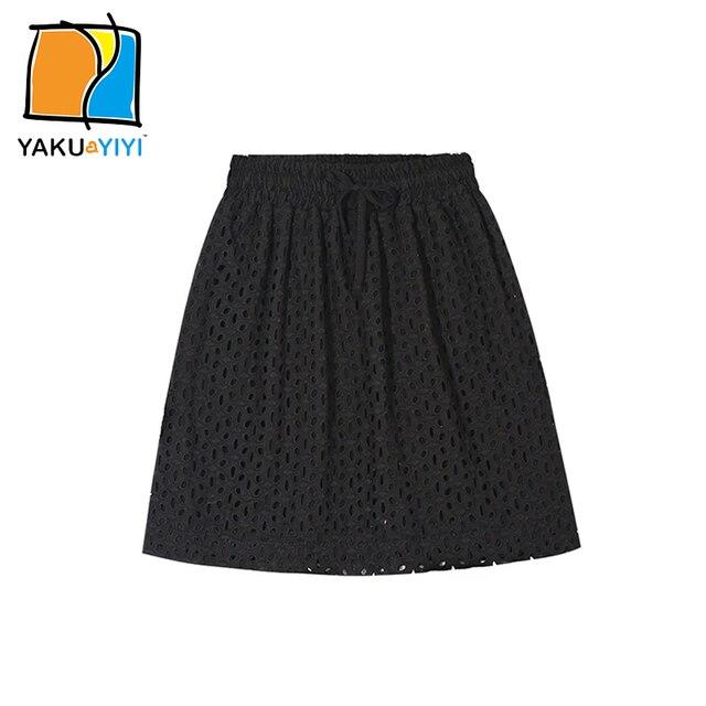 91a29d96a98edb Ykyy Yakuyiyi Effen Zwart Meisje Rok Elastische Taille Haak A Lijn