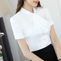 Women Clothing Fashion White Pink Grey Short Sleeve V Neck Silk Shirt Slim OL Summer Top
