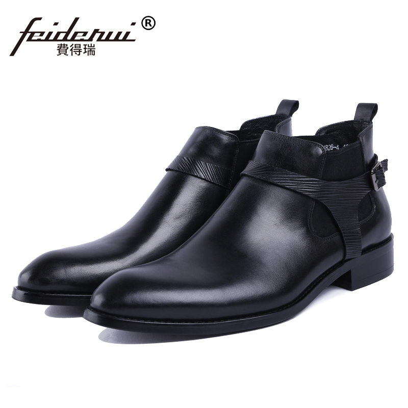 New Vintage Round Toe Man High-Top Riding Shoes British Designer Genuine Leather Men's Cowboy Chelsea Ankle Boots For Male JS69 new summer designer man handmade breathable chelsea shoes male genuine leather men s round toe cowboy riding ankle boots ss347