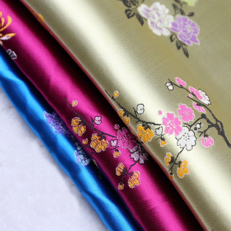 Bamboo Flowers Brocade Fabric Damask Jacquard Apparel Costume Upholstery Furnishing Curtain DIY Clothing Material BY Meter