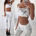 2016 New Ink Drawing Woman Set Short Top And Trousesr Two Piece Woman Tracksuits Fashion Sexy Slim Geometric Ladies Woman Set