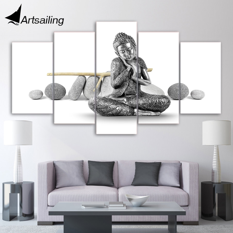 5 Pieces Canvas Paintings Printed Stone Buddha Wall Art Canvas ...
