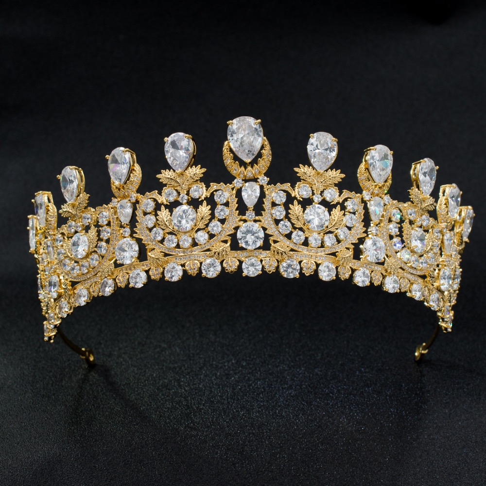 цена Luxurious Cubic Zirconia Classic Big Royal Wedding Bridal Gold Color Tiara Crown Women Girl Hair Accessories Jewelry HG1162