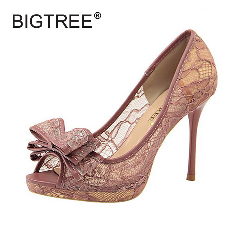 BIGTREE New Fashion Open Toe Slip-on Women Lace Pumps Sexy Ladies Casual High Heels Evening Elegant Thin Heels Wedding Shoes
