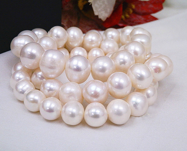 2016 Round pearl bracelet  ivory white freshwater pearl bangle Natural Bracelet bracelet cuff coil for wedding bride  B10015