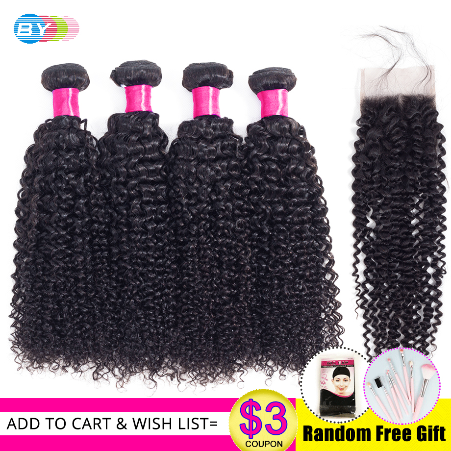 BY 4 Bundles With Closure Brazilian hair Weave Kinky Curly Bundles With Closure Human Remy Hair