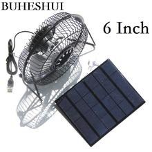 "BUHESHUI 3.5W 3W Solar Powered Panel Iron Fan For Home Office Outdoor Traveling Fishing 6 "" 4 Inch Cooling Ventilation Fan USB"