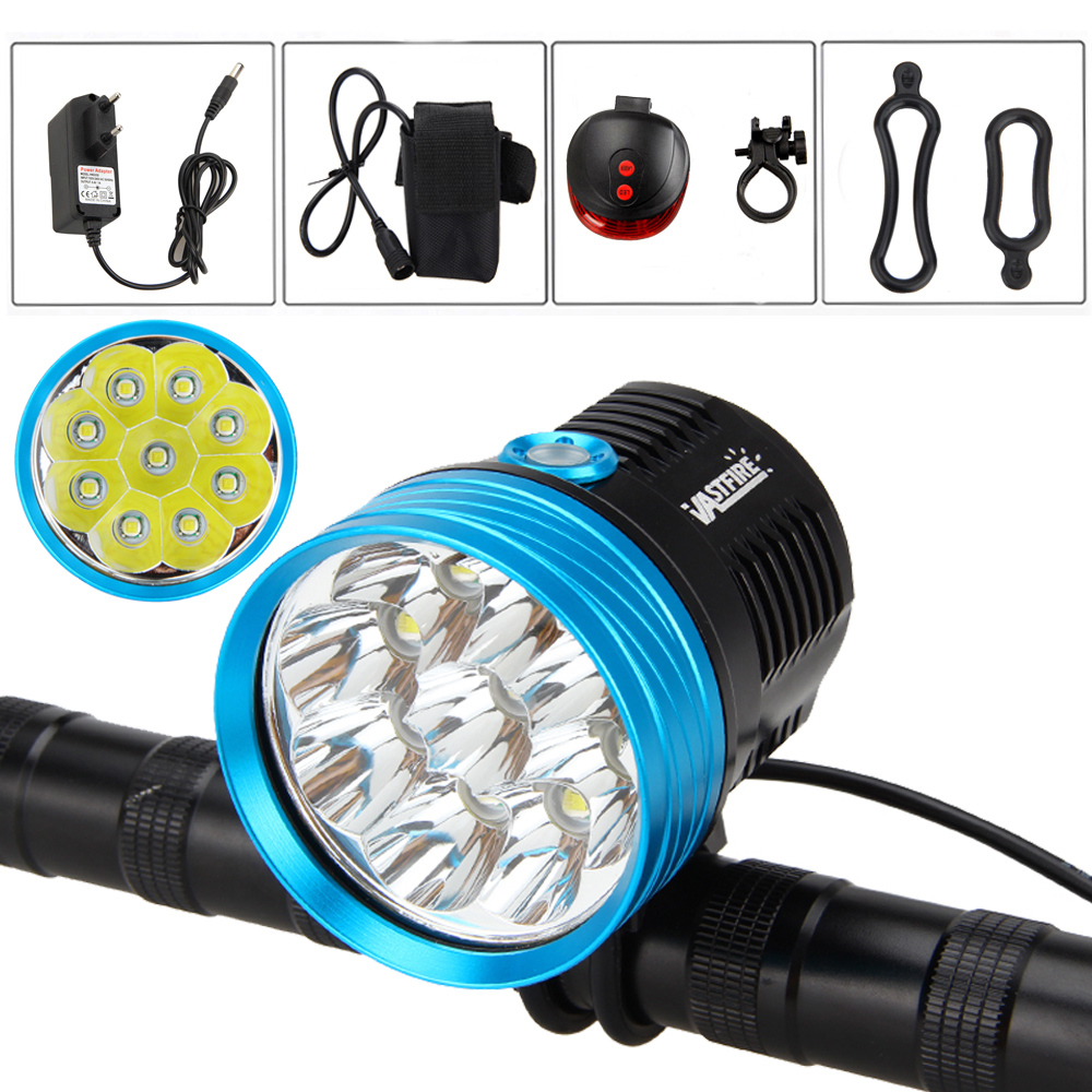 ФОТО 20000LM 9X XM-T6 LED Head Front Bicycle Light Bike Headlamp Torch+Laser Rear Light+ Charger