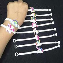 10 Uds decoración del Partido de caucho pulsera brazalete Unicornio decoraciones para fiesta de cumpleaños de los niños regalos bebé ducha Unicornio fiesta