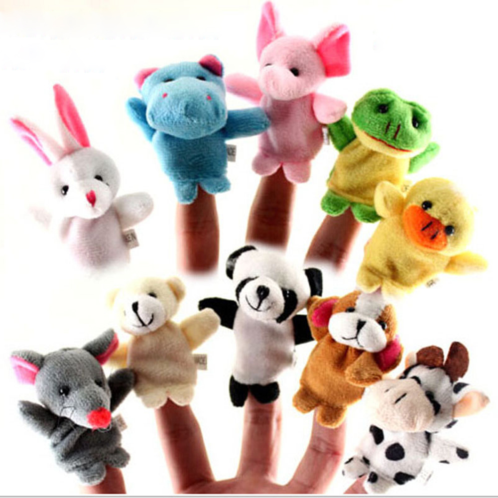 10PCS Cartoon Animal Finger Puppet Cute Stuffed Toy Playing Plushed Toys for Children Kids Girls Baby Gift Dolls Educational Toy