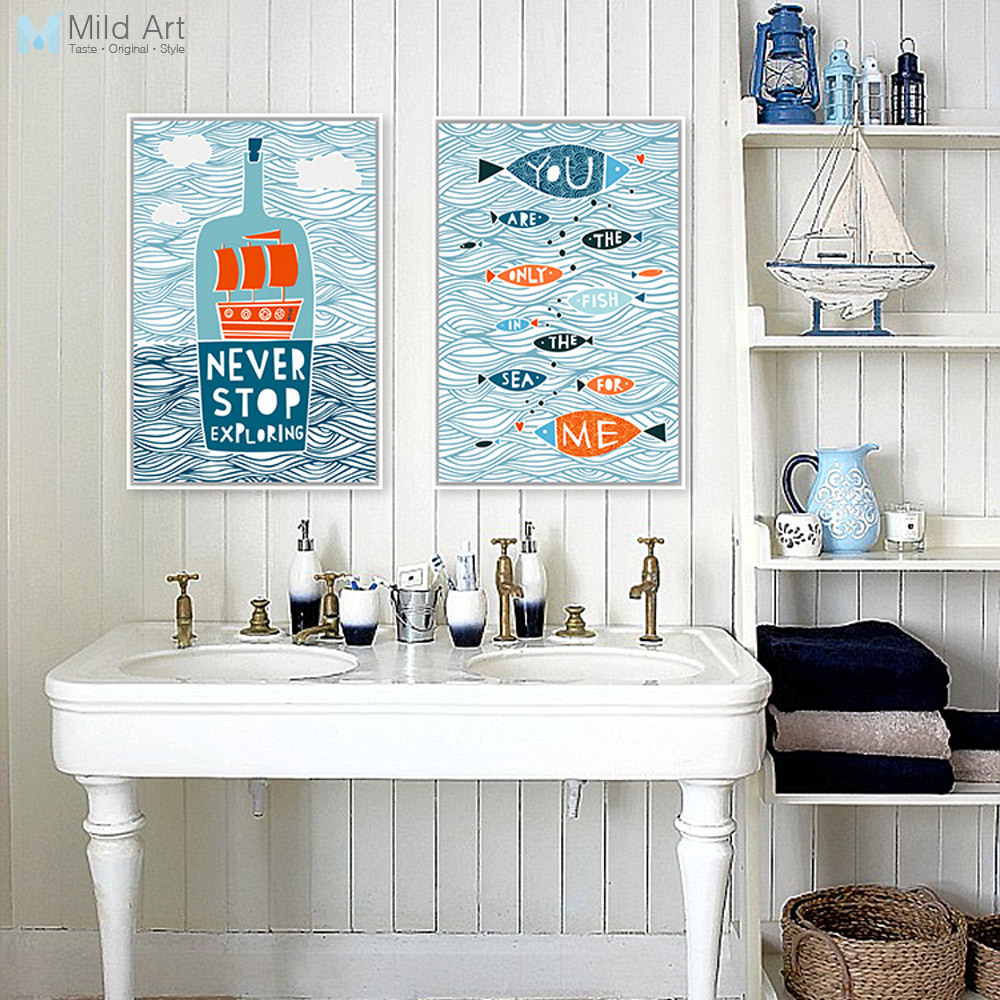 Cartoon Fish Ocean Motivační Typografie Citáty Středozemní Umění Tisk Plakát Námořní Wall Picture Canvas Malování Home Deco