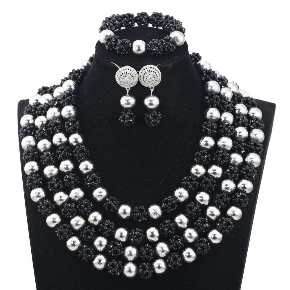 Smart Black Beads Balls Costume Women Jewelry Sets Black and Silver Indian African Beads Jewelry Set QW1210Smart Black Beads Balls Costume Women Jewelry Sets Black and Silver Indian African Beads Jewelry Set QW1210