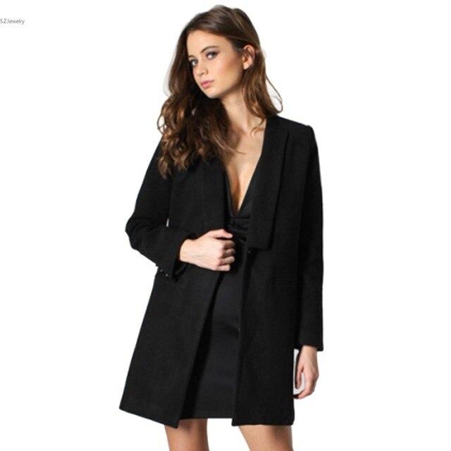 Новый 2016 Женщины Шерсть Пальто Плюс Размер Осень Зима Средней Длины Одного Пальто Дамы Теплые Вскользь Уменьшают Пальто