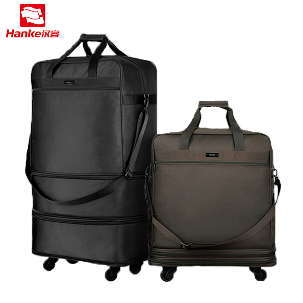 Hanke 91L Expandable Suitcases Foldable Men Luggage Lockable Travel Bag Women Spinner Rolling Duffel Trolley Garment Bags T637