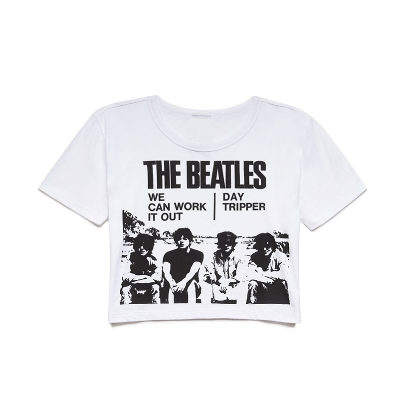 6c5ca68ccaf iEASYSEXY 2017 New Cotton T Shirt Women Tops the Beatles Music Letter Print  Hip Hop Ladies Crop Tops Casual T shirts Plus Size-in T-Shirts from Women's  ...