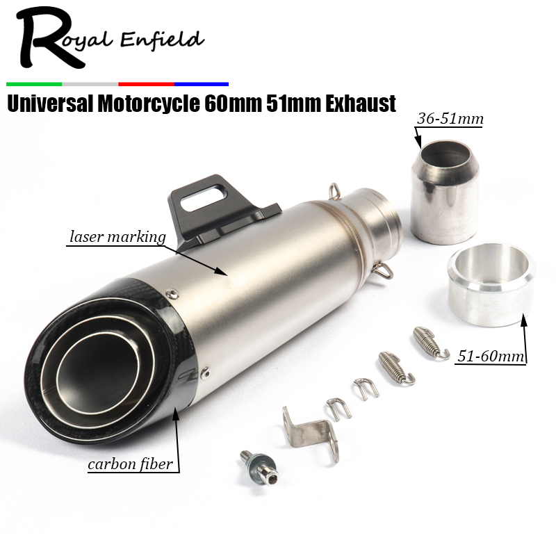 60mm 51mm Universal Motorcycle Exhaust Pipe Modified Carbon Fiber GP Muffler Racing For R6 S1000RR CBR500 ZX-6R Z900 GSXR600 R1 51mm universal modified motorcycle exhaust pipe carbon fiber muffler cnc cap for yamaha r1 r6 xmax 300 z900 z1000 cbr600 1000