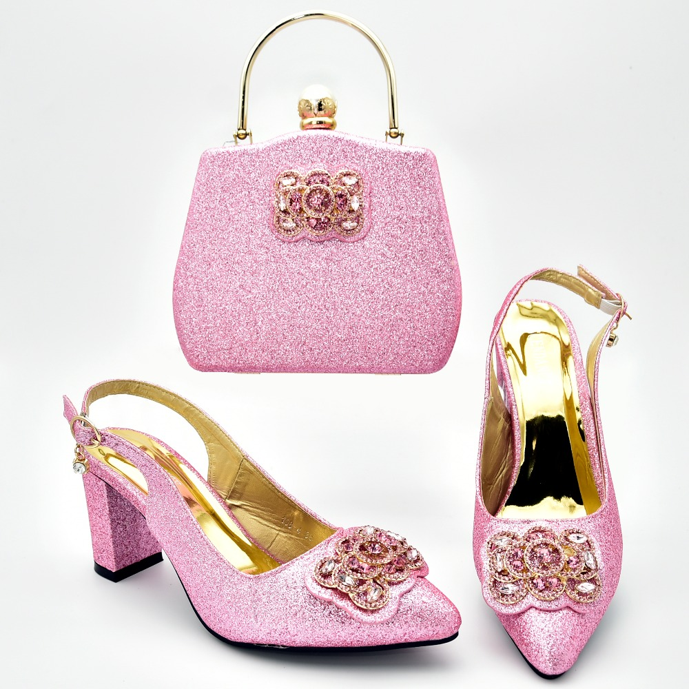 Lovely pink color shinning sandal shoes lady with clutches bag matching set 2.7 inches heel nice shoes bag set matching SB8375-5Lovely pink color shinning sandal shoes lady with clutches bag matching set 2.7 inches heel nice shoes bag set matching SB8375-5