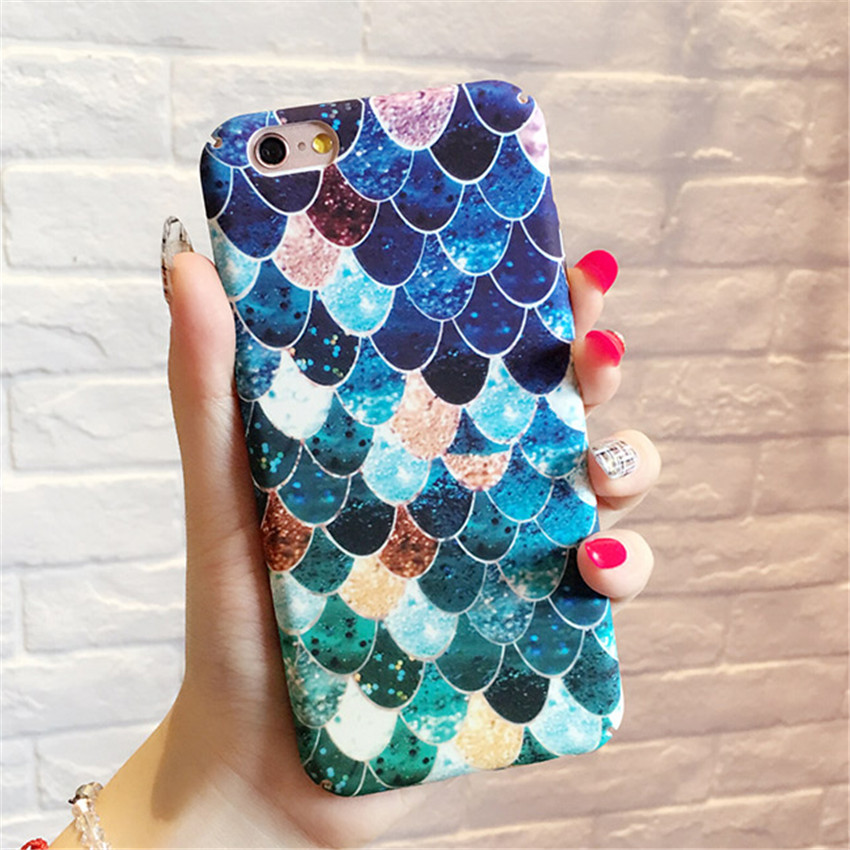 New Amazing Pink Green Mermaid Fish Scal Capa Coque Slim Hard Plastic Phone Cases Cover For iPhone 7 7Plus 6 6S Plus 6Plus 5.5