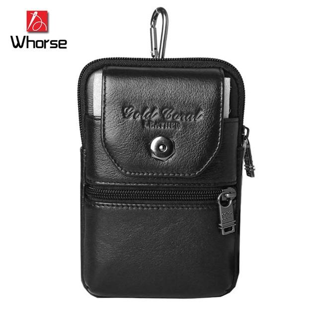 Brand Logo ! 100% Cowhide Men's Waist Bag Casual Pack Genuine Leather Travel Men Money Mobile Phone Belt Bag Cellphone Bags