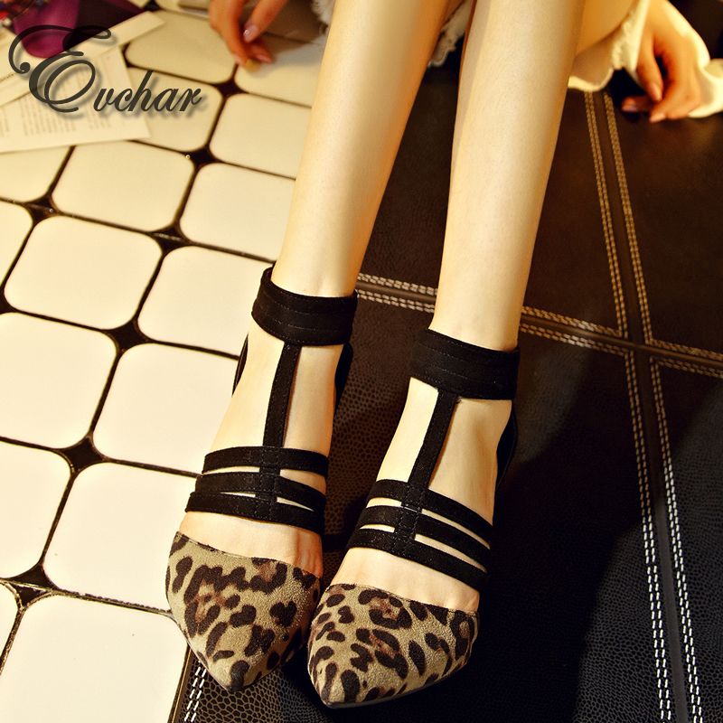 Fashion new woman shoes pointed toe thin high heels women sandals Leopard party sexy cut-outs gladiator sandals size 33-43 2016 new summer women sandal sexy high heels sandals cut outs shoes woman sandals pointed toe suede women pumps sandalias c122
