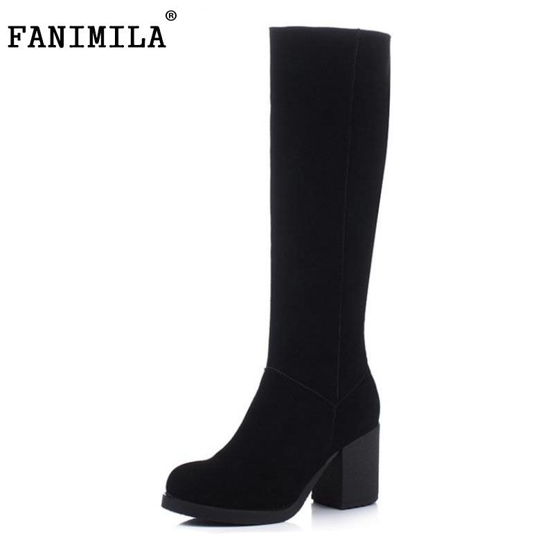 FANIMILA Women Genuine Leather Knee Boots Zipper High Heel Boots Warm Fur Shoes For Cold Winter Botas Women Footwears Size 34-39 купить