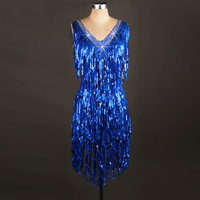 Sparkly Rhinestones V Neck Latin Dance Dress For Women Sexy Sequins Tassels Latin Dance Competition Dresses